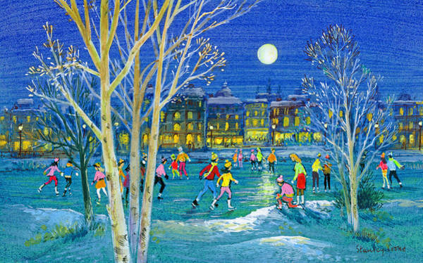Figure Skater Painting - The Iceskaters by Stanley Cooke