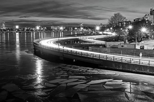 Photograph - The Icy Charles River At Night Boston Ma Cambridge Black And White by Toby McGuire