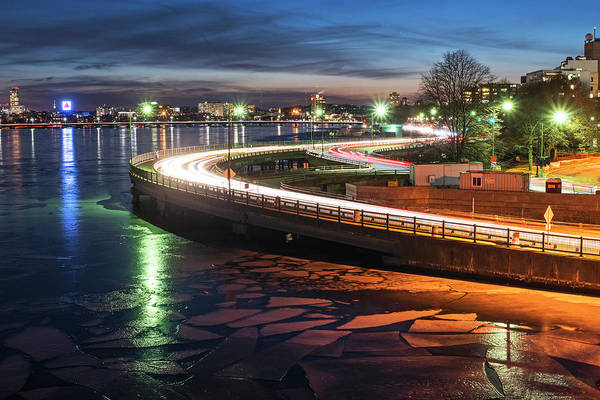 Photograph - The Icy Charles River At Night Boston Ma Cambridge by Toby McGuire