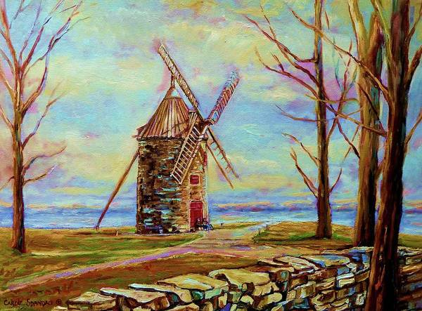 Painting - The Ile Perrot Windmill Moulin Ile Perrot Quebec by Carole Spandau