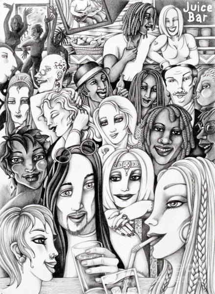 Drawing - The In Crowd by Valerie White