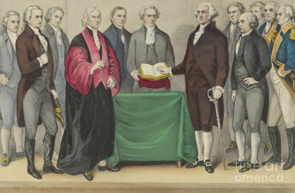 Wall Art - Painting - The Inauguration Of Washington As First President Of The United States by Currier and Ives
