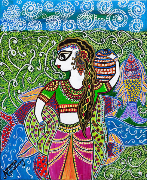 Madhubani Painting - The Indian Fisher Woman by Anannya Chowdhury