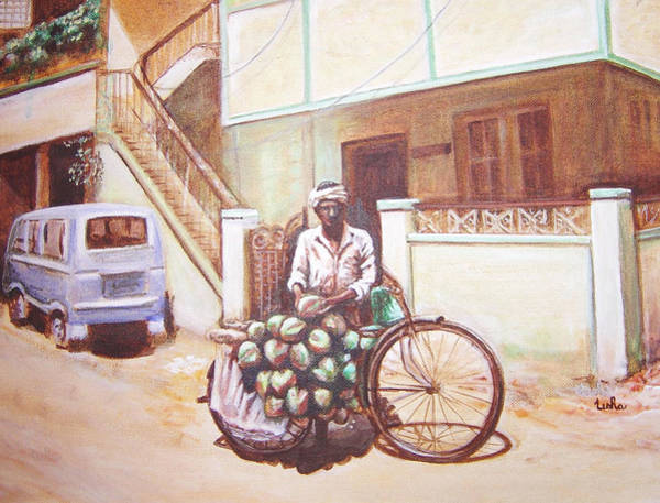 Usha Painting - The Indian Tendor-coconut Vendor by Usha Shantharam