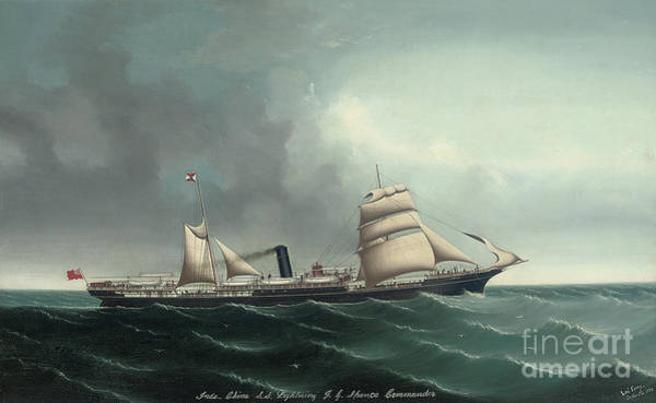 Wall Art - Painting - The Indo China Steamship Lightning Under Sail And Steam, 1892  by Lai Fong