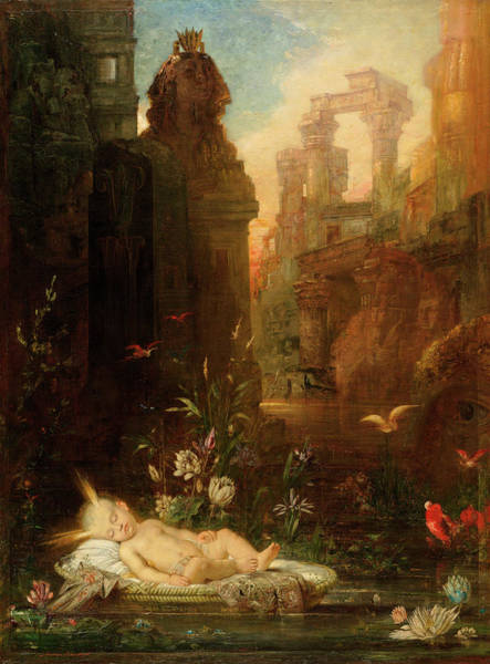 Bullrush Painting - The Infant Moses by Gustave Moreau