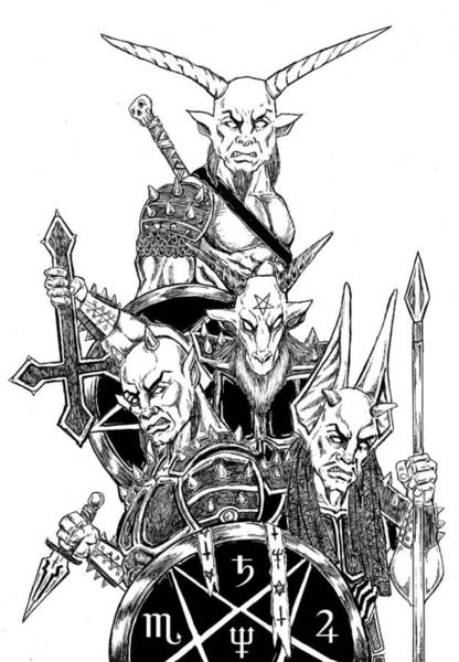 Demonic Drawing - The Infernal Army White Version by Alaric Barca