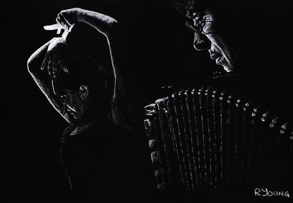 Wall Art - Pastel - The Intensity Of Flamenco by Richard Young