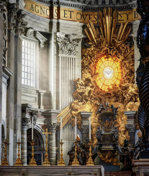Photograph - The Interior Of St. Peter's Basilica In Rome by Fine Art Photography Prints By Eduardo Accorinti