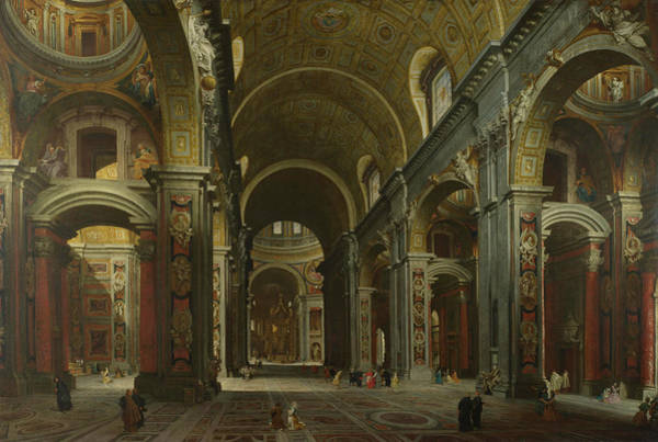 Carving Painting - The Interior Of St Peter's by Giovanni Paolo Panini