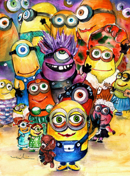 Wall Art - Painting - The Invasion Of The Minions by Miki De Goodaboom