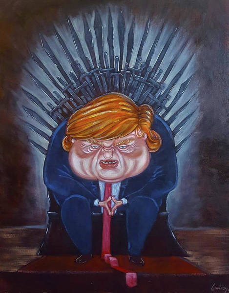 Trump Cartoon Painting - The Iron Throne - What Now? by Pete Conroy