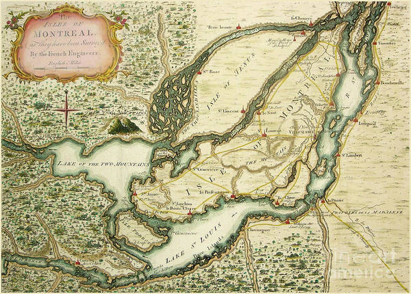 Fleur De Lys Painting - The Isles Of Montreal, Canada Antique Map Circa 1761 by Tina Lavoie