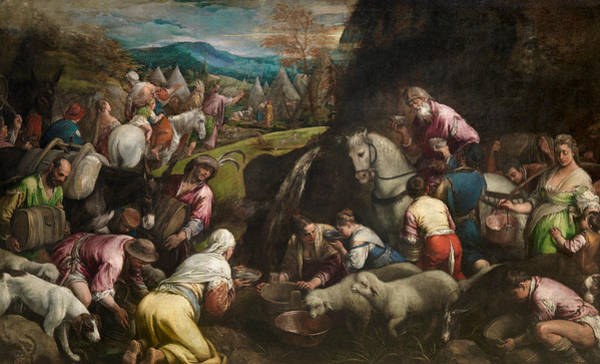 16th Century Painting - The Israelites Drinking The Miraculous Water by Jacopo Bassano