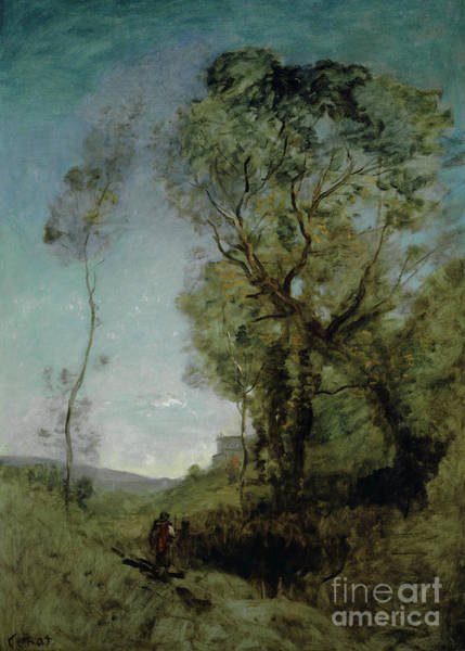 Wall Art - Painting - The Italian Villa Behind The Pines by Jean Baptiste Camille Corot
