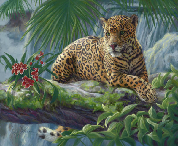 Big Cat Wall Art - Painting - The Jaguar by Lucie Bilodeau