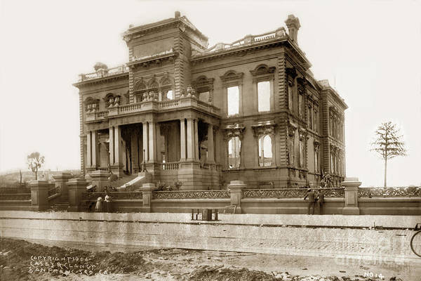 Photograph - The James C. Flood Mansion On Nob Hill April 1906 by California Views Archives Mr Pat Hathaway Archives
