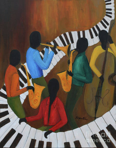 Wall Art - Painting - The Jazzy Five by Larry Martin
