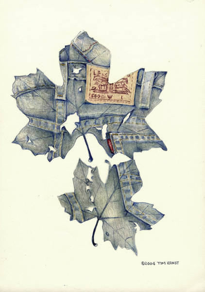 The Jeans Leaf Art Print