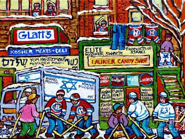 Boys Playing Hockey Painting - The Jewish Street Kosher Shops Montreal Memories Winter Scene Fun Street Hockey Art Carole Spandau   by Carole Spandau
