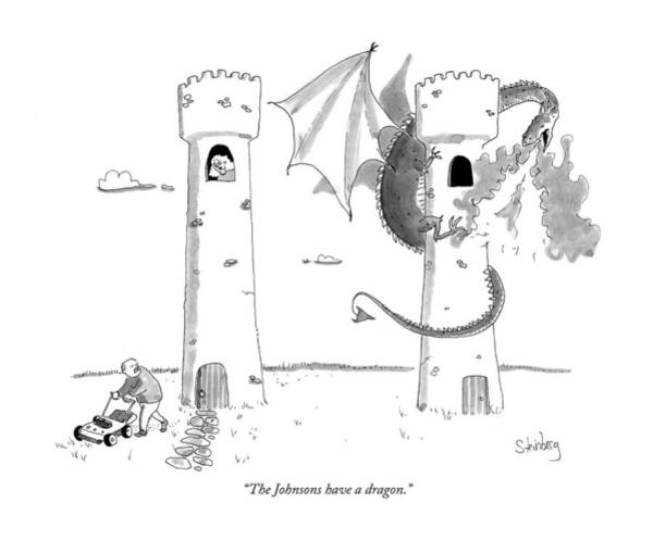 Mower Drawing - The Johnsons Have A Dragon by Avi Steinberg