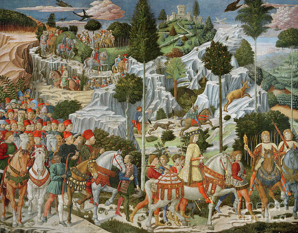 Wall Art - Painting - The Journey Of The Magi To Bethlehem by Benozzo di Lese di Sandro Gozzoli
