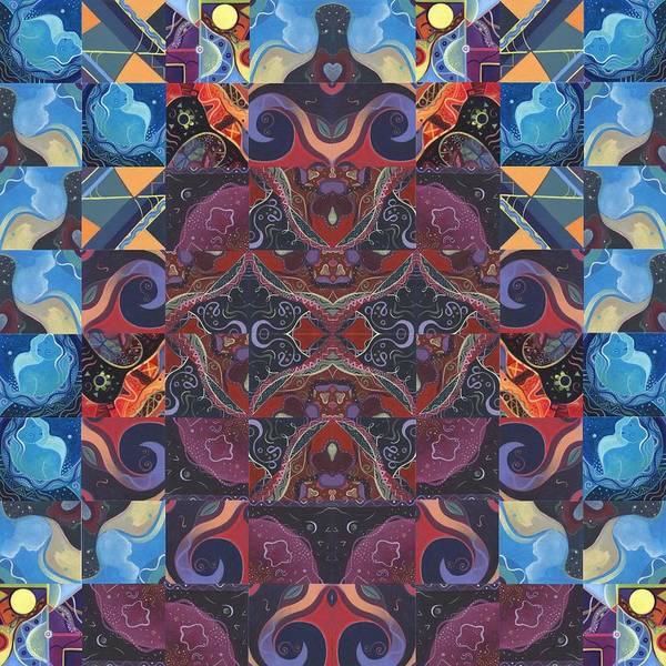 Painting - The Joy Of Design Mandala Series Puzzle 6 Arrangement 2 by Helena Tiainen