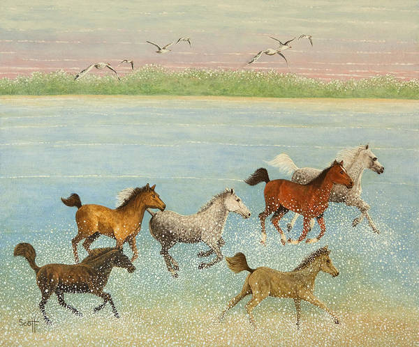 Running Horses Painting - The Joy Of Freedom by Pat Scott