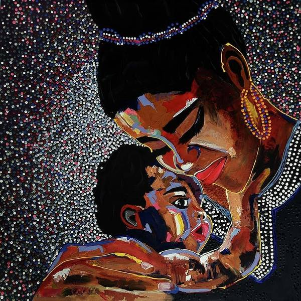 Nigeria Painting - The Joy Of Motherhood by Emmanuel Anaiye Ifebunmi
