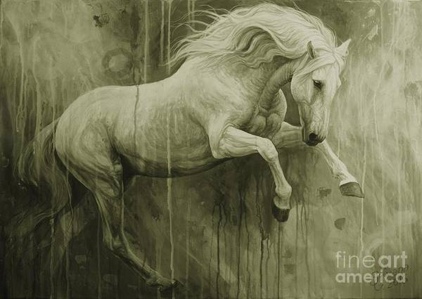 White Horse Wall Art - Painting - The Joy by Silvana Gabudean Dobre