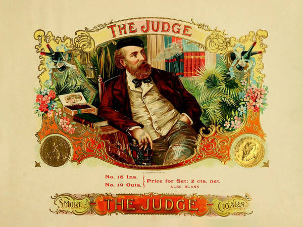 Digital Art - The Judge Vintage Cigar Label by Serge Averbukh