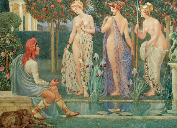 Judgement Wall Art - Painting - The Judgment Of Paris by Walter Crane