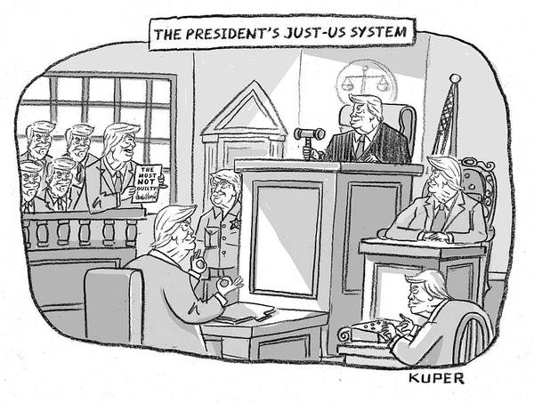 Justice Drawing - The Justus System by Peter Kuper