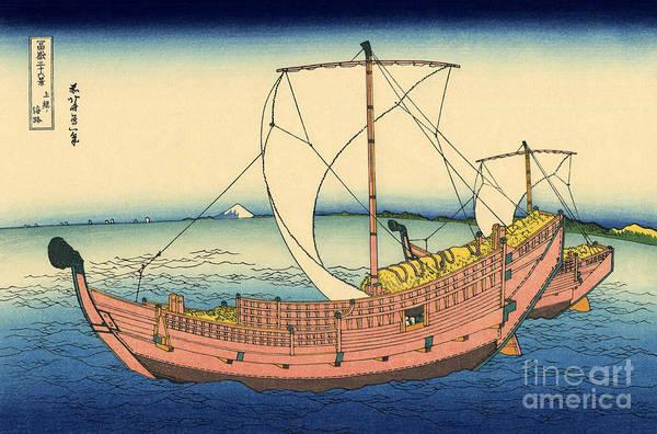 Wall Art - Painting - The Kazusa Sea Route by Hokusai