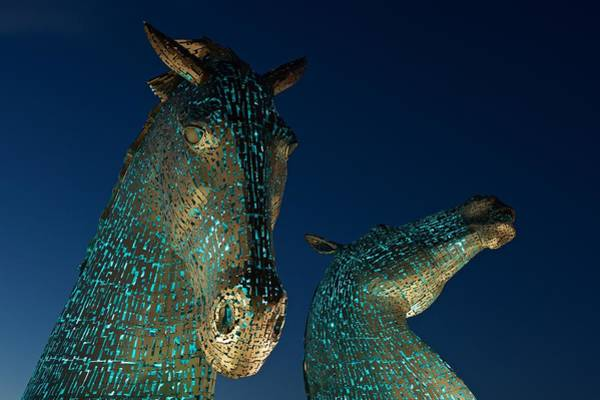 Photograph - The Kelpies In Baby Blue by Stephen Taylor