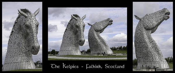 Photograph - The Kelpies Tryptich by Teresa Wilson