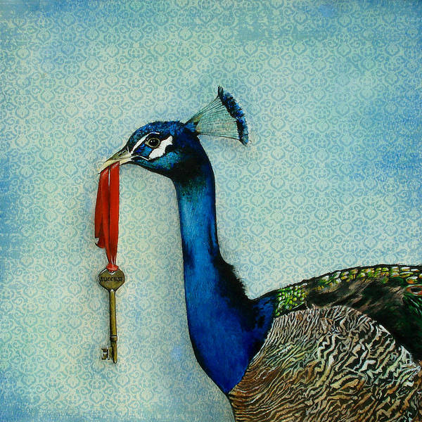 Blue Feather Wall Art - Painting - The Key To Success by Carrie Jackson