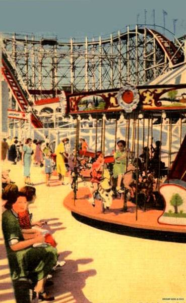 Carousel Mixed Media - The Kiddie Park Carousel, Coney Island, 1939 by Dwight GOSS