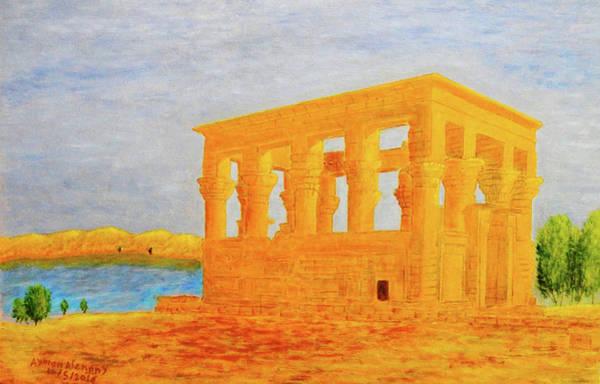 Philae Painting - The Kiosk Of Trajan, Philae Island, Aswan, Egypt by Ayman Alenany
