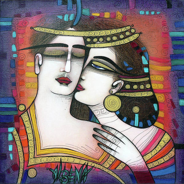 Wall Art - Painting - The Kiss by Albena Vatcheva