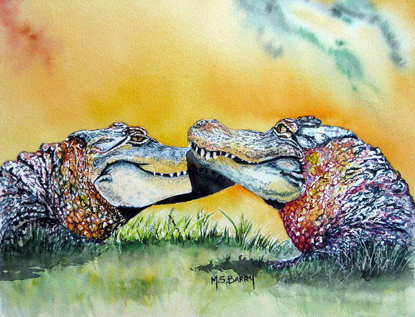 Gator Wall Art - Painting - The Kiss by Maria Barry
