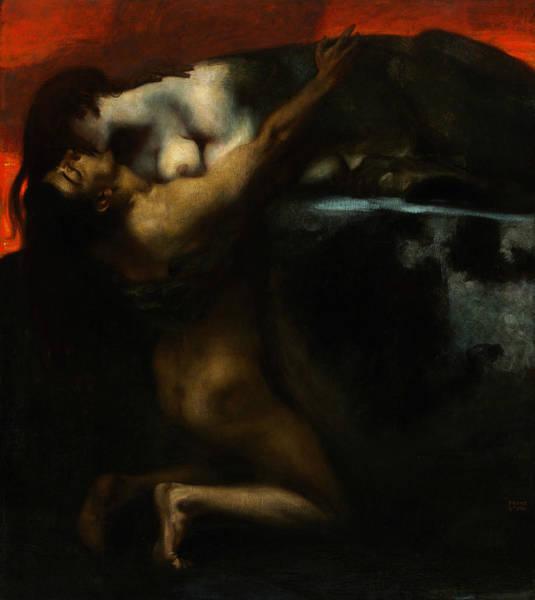 Franz Von Stuck Painting - The Kiss Of The Sphinx by Franz von Stuck