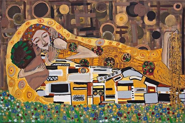 Entangled Painting - The Kiss Recumbent Klimt Interpretation by Kim George
