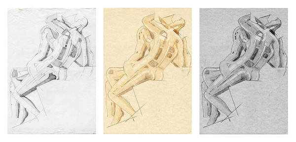 Drawing - The Kiss - Triptych - Homage Rodin by David Hargreaves