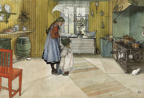 Painting - The Kitchen. From A Home by Carl Larsson