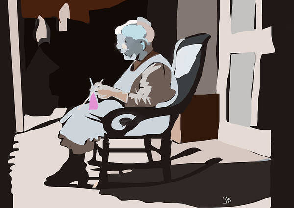 Knitting Digital Art - The Knitter by Jennifer Buerkle