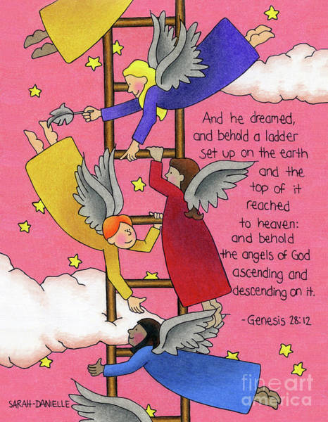 Bible Drawing - The Ladder by Sarah Batalka