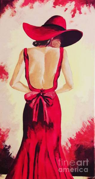 Lady In Waiting Painting - The Lady In Red Painting  by Nermine Hanna