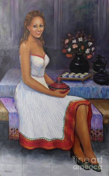 Lady In Waiting Painting - The Lady In Waiting by Samuel Daffa