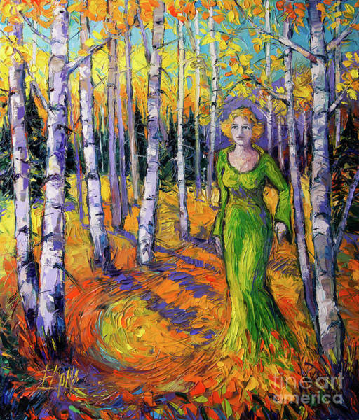 Hurst Wall Art - Painting - The Lady Of The Aspen Trees Modern Impressionism Palette Knife Painting by Mona Edulesco
